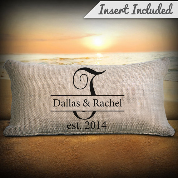 personalized pillow custom initial and established date monogram pillow